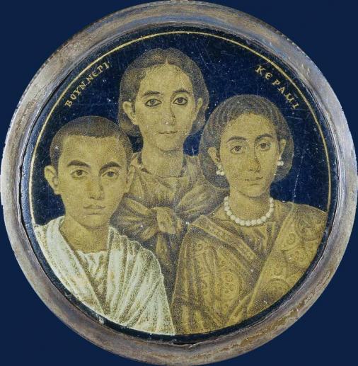 Medaglione aureografico con triplice ritratto