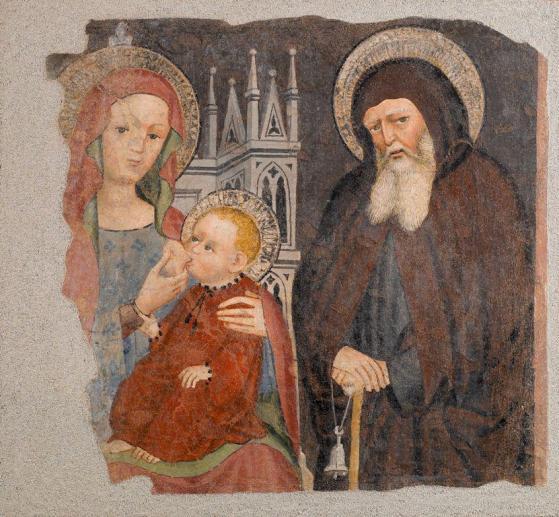 Affresco della Madonna in trono che allatta il Bambino con sant'Antonio Abate