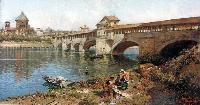 Riccardo Pellegrini - Il ponte medioevale sul Ticino a Pavia