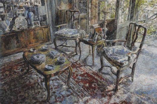 MINOTTO RAFFAELE, Le luci dell'attesa, 2018, Olio su tavola, 120 x 120 cm