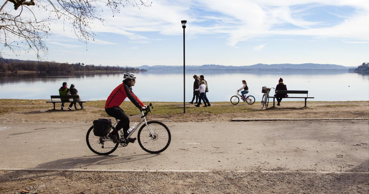 Cycle path on the lakeside of Varese
