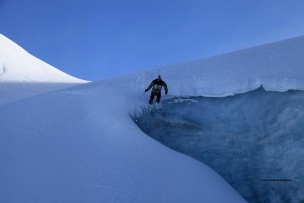 Sul ghiacciaio del Pizzo Scalino