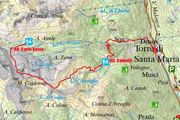Cartina prima tappa alta via Valmalenco