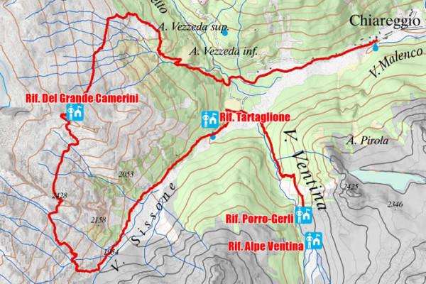 Cartina terza tappa alta via della Valmalenco
