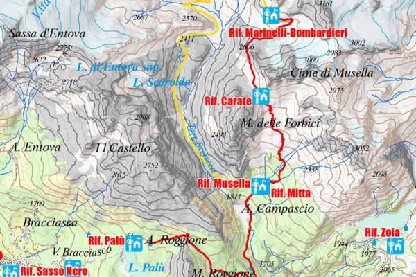 Cartina variante quinta tappa Alta via Valmalenco